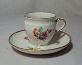 KPM Germany Demitasse Cup and Saucer Floral Pattern & Butterflies Red Orb