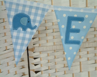 Personalised banner, bunting. Baby boy. Christening gift. Fabric flags. Blue stripes, gingham, stars, spots. Trains, stars, elephants, cars.