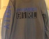 Gymnastics girl long sleeve glitter bling t-shirt