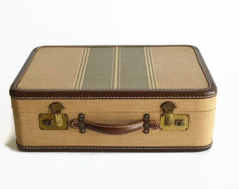 vintage striped tweed leather small suitcase 1940s luggage