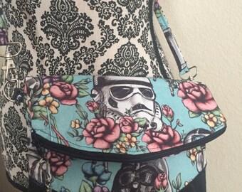 Floral Wars, Space, Wars, Star, Cosplay, Nerd, Geek, Storm Trooper, Darth Vader, Purse, Bag, Zipper Bag, Handbag, Clutch