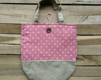 Polka Dot Pink Tote / Book Bag
