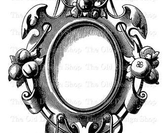 Vintage Clip Art Frame 2 Fairy Tale Snow White Mirror Printable Victorian Ornamental Design Digital Download Transfer Image JPG PNG