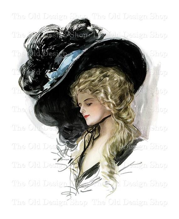 Vintage Harrison Fisher Printable Art Victorian Lady Black Hat Digital Download JPG Image