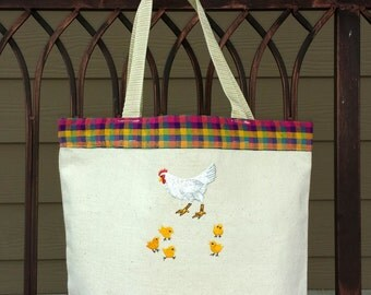 Ready to ship! Chicken & Chicks Embroidered Market Tote Bag Purse, Fully Lined Madris print