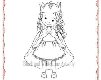 Queen Stamp, Digital Princess Stamp, Girl Digital Stamp, Girl Outline, Girl Line Art, Instant Download
