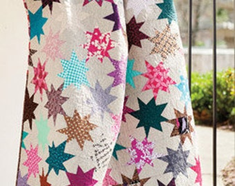 Sparkle Punch quilt pattern cheerful, fun to make size 60'' x 72''  Fat Quarter friendly!  . Pattern only 2.99