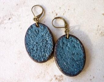 Blue Bold Oval Earrings, Textured, Artisanal Jewelry, Handmade Bead Earrings, Bold and Beautiful Women, Statement Earrings, Vibrant