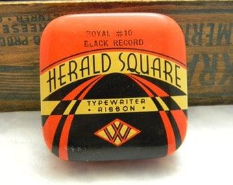 Vintage Herald Square Typewriter Ribbon Tin empty Woolworth price tag