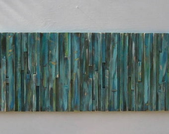 Distressed Modern Rustic Wood  Wall Sculpture Art Painting , Abstract Painting, Large Painting,Blue Green