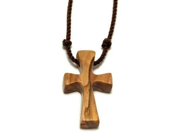 Holy Land Olive Wood, Bethlehem Olive Cross, Simple Cross Pendant, Cross Necklace, Gifts Under 20
