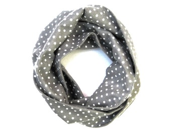Kid Polka Dot Scarf, Child's Gray Scarf, Polka Dot Scarf, Toddler Scarf, Children Clothing, Baby Girl Scarf, Toddler Girl, Ready To Ship