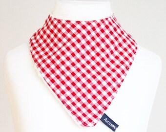 Dribble bib, red gingham bandana bib, gender neutral baby gift, new baby boy or girl,