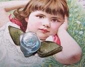 Vintage/FRENCH/Craft/French Ribbonwork/Rose/Applique/Embelliishment - Light Blue, White & Olive Green!