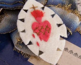 Vintage FRENCH Craft - Agnus Dei Religious Sacramental or Devotional - Sacred Heart