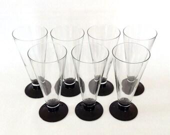Vintage Pilsner Glasses, Black Bases, France, Set of 7