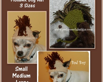 Instant download CROCHET PATTERN - Mohawk Dog Hat 3 Sizes Small Medium Large