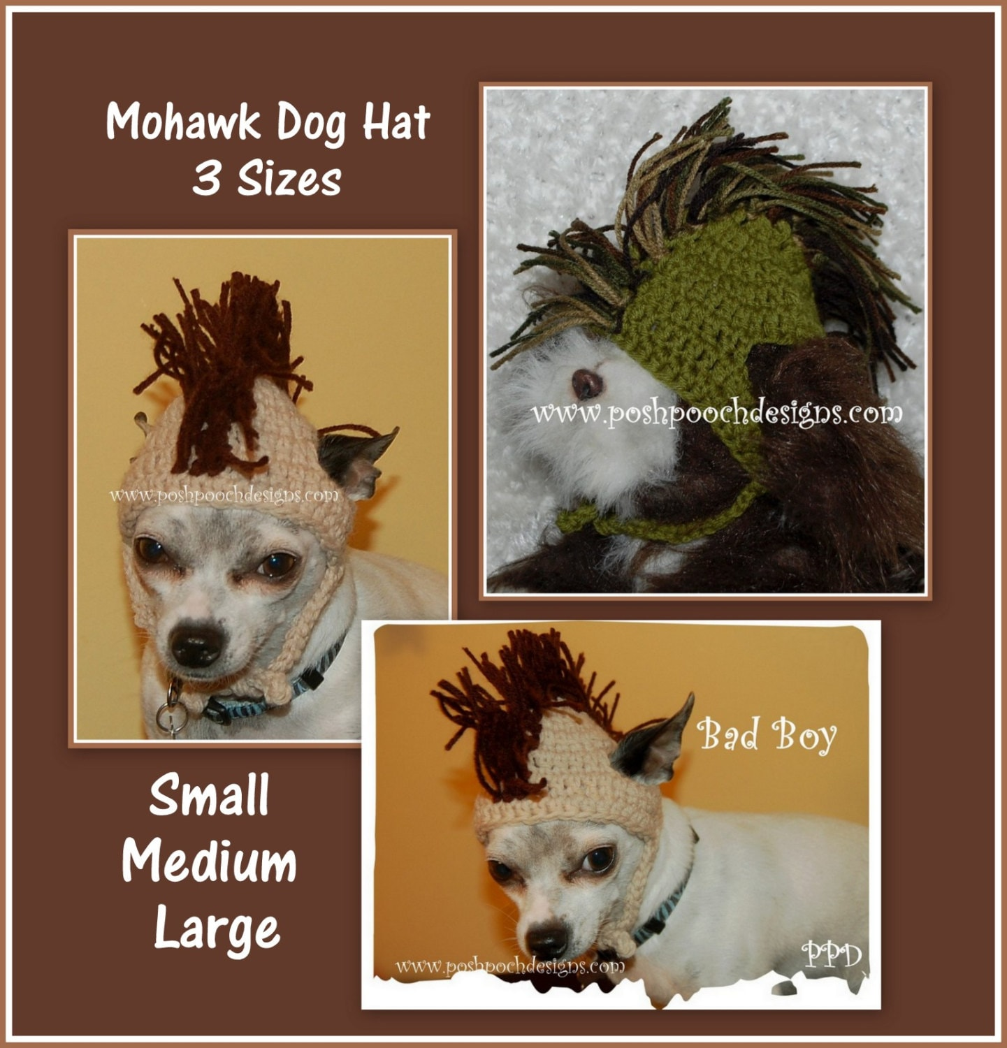 Instant download crochet pattern mohawk dog hat 3 sizes zoom bankloansurffo Gallery