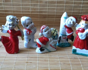 "Vintage 40's - 60's '""CHRISTMAS PORCELAIN ORNAMENTS""  Lot of 5 An Instant Collection"