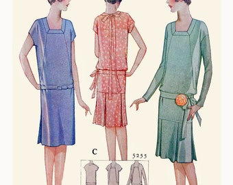 1920s Style Square Neck Drop Waist Dress with Pleated Skirt Custom Made in Your Size From a Vintage Pattern