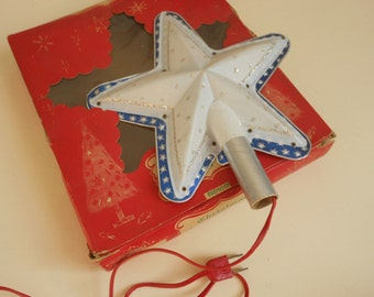 Vintage  Mid Century Magestic Star Light Christmas tree Topper