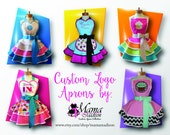 MamaMadison Custom Embroidered Retro Apron Featuring YOUR Company LOGO, Your Choice Of Fabrics & Colors