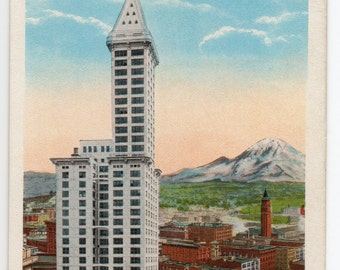 Vintage Postcard Seattle Washington The Two Sentries The 42 Story L.C. Smith Building And Mt Rainier Pacific Northwest King County