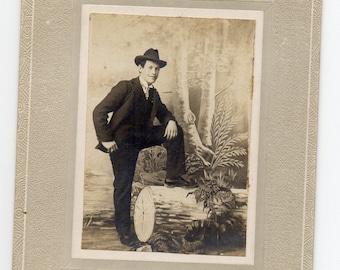 Victorian Man Wearing A  Hat Small Cabinet Card Antique Photograph Paper Ephemera Vintage Fashion Photo