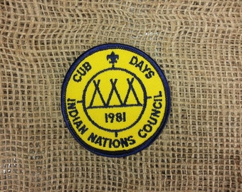 Vintage Cub Scout 1981 Cub Days Indian Nations Council Cub Scout Patch Teepee