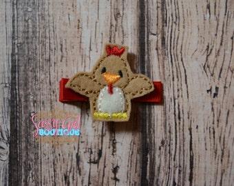 Farm Animal-Girls Hair Accessories - Felt Rooster Chicken Hair Clip- Embroidered Felt Farm Rooster-Hair Clippie-No Slip Grip