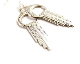 Silver Earrings Art Deco Jewelry