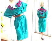 Vintage Mexican dress Tipicos Mexico green with applique shirt dress festival ethnic boho hippie fiesta bohemian: one size fits most