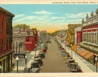 Linen Postcard, Dover, Delaware, Lockerman Street from Post Office, ca 1940