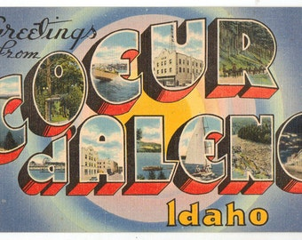 Linen Postcard, Greetings from Coeur d'Alene, Idaho, Large Letter