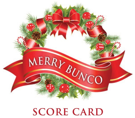Holiday Bunco Scorecard and Foldable Table Marker Set a.k.a.