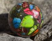 Beautiful multicolor pyrite sphere  HP071