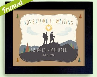 Adventure Awaits Gift for Hiker Newlywed Wedding Gift Outdoors Couple Nature Lovers Cabin Art Rustic Decor Canoe Camping Unique Couples Gift