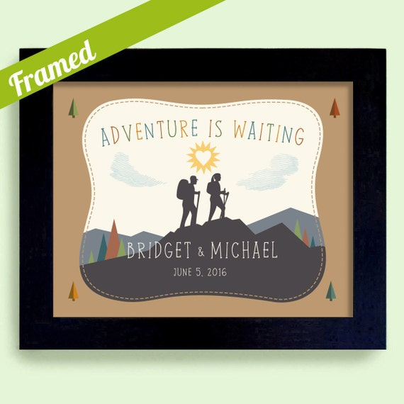 Wedding Gifts For Outdoorsy Couples : Adventure Awaits Gift for Hiker Newlywed Wedding Gift Outdoors Couple ...