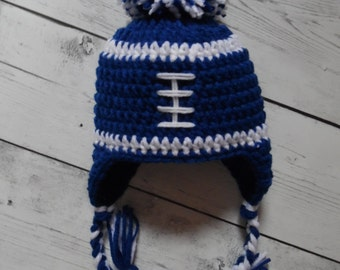 Football Hat With Pom2x, Crochet Football Hat, Toddler Football Hat, Baby Boy Hat - Made to Order
