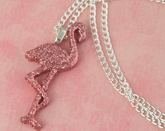 Pink Glitter Flamingo Charm Necklace - Retro Rockabilly 50s Pin Up Jewellery - Kitsch Tiki Necklace - Pink Flamingo Jewelry