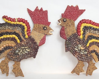 Pair of Vintage Seed Art Roosters Folk Art
