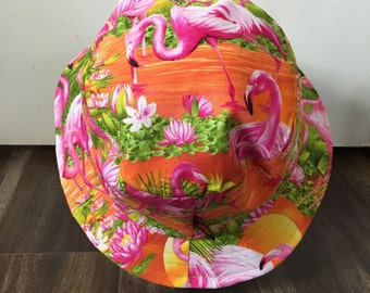 Handmade Tropical Flamingo Sunset Bucket Hat