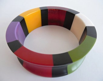 21% OFF :) AT DECO Colorblock . Rare Colorful Bangle Chunky Colorful Multi Color Similar To Bakelite Galalith Catalin Early Plastic 40s 30s