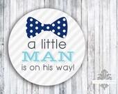 "Envelope Seals or Favor Stickers - Set of 60 - Little Man Bow Tie & Suspenders - 2"" round sticker"