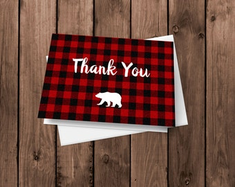Flannel Lumberjack - Thank You Cards - Notecards - Stationery