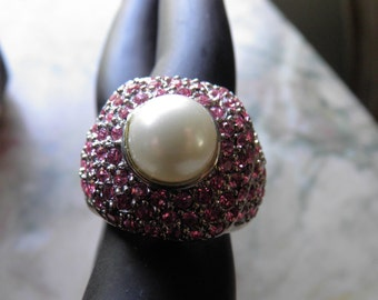 Pink Diamonds (faux) Large Pearl Center in Silver.  Old Hollywood Glamour.RESERVED