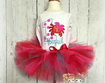 Birthday Crab Tutu Set- Summer Birthday outfit- Red and pink- Custom Birthday outfit