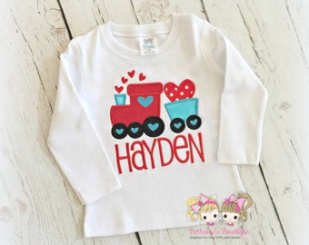 Boys Valentine's Day shirt - Valentine's Day train shirt - custom 1st Valentine's shirt - personalized valentine's day shirt for boys