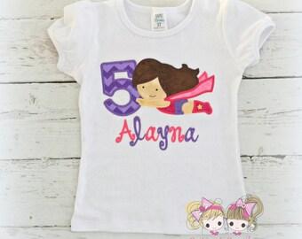 Supergirl birthday shirt - superhero birthday shirt - flying superhero girl shirt in pink and purple - personalized birthday shirt
