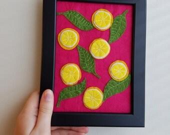Felt Lemon + Leaves - 5 x 7